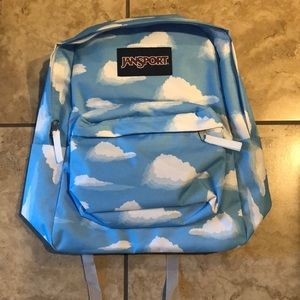 NWOT JanSport Blue White Clouds Backpack
